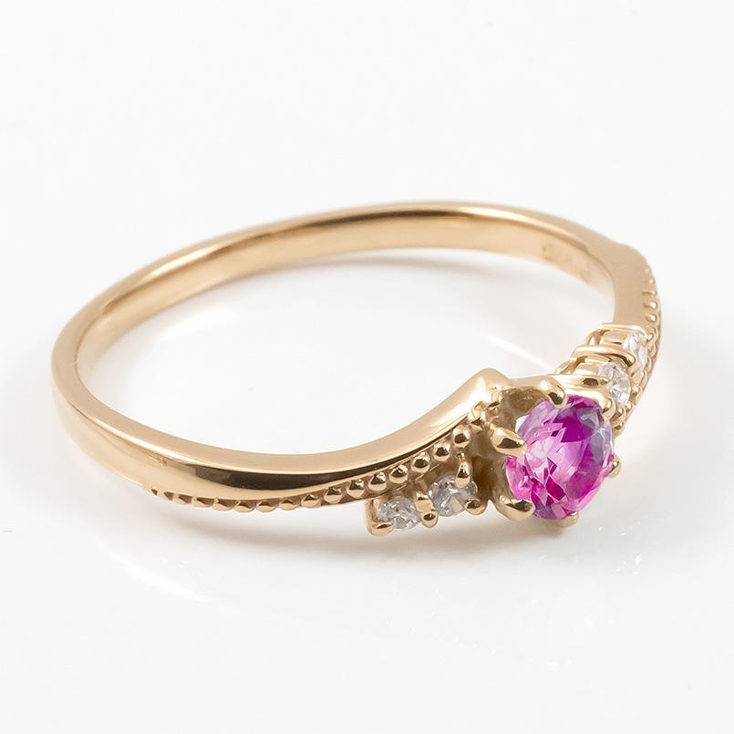 18金 リング ダイヤモンド ルビー 一粒 レディース 指輪 18k ピンクゴールドk18 ゴールド 婚約指輪 ピンキーリング 大粒 ミル打ち 女性 送料無料PTikXZOu