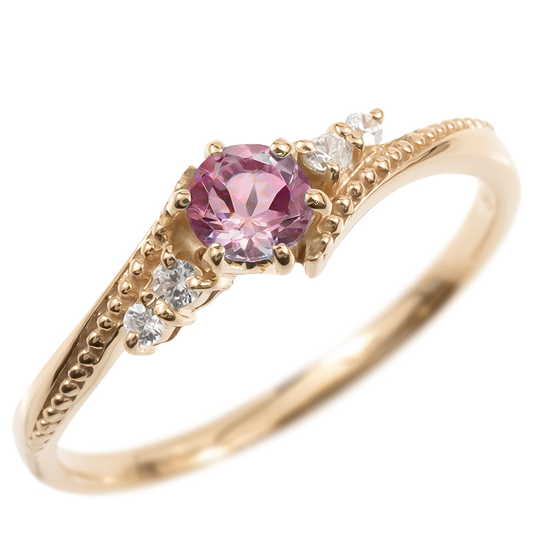 ゴールド リング ダイヤモンド ピンクトルマリン 一粒 レディース 指輪 10k ピンクゴールドk10 婚約指輪 ピンキーリング 大粒 ミル打ち 女性 送料無料