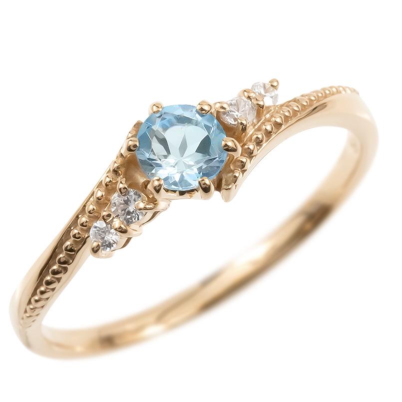 18金 リング ダイヤモンド ブルートパーズ 一粒 レディース 指輪 18k ピンクゴールドk18 ゴールド 婚約指輪 ピンキーリング 大粒 ミル打ち 女性 送料無料
