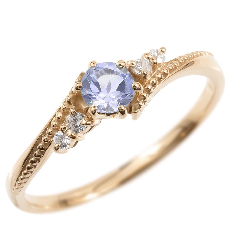 18金 リング ダイヤモンド タンザナイト 一粒 レディース 指輪 18k ピンクゴールドk18 ゴールド 婚約指輪 ピンキーリング 大粒 ミル打ち 女性 送料無料