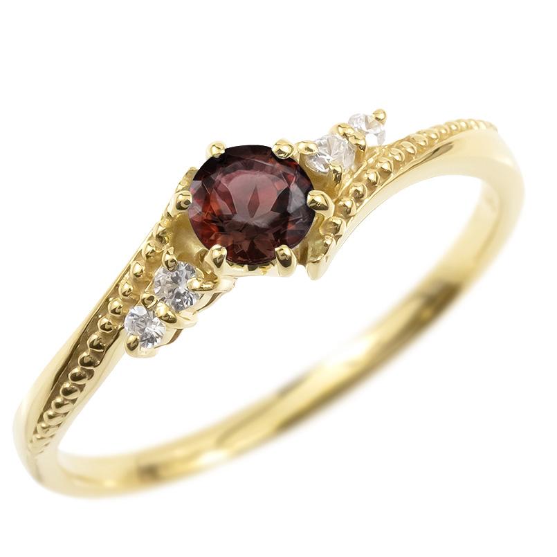ゴールド リング ダイヤモンド ガーネット 一粒 レディース 指輪 10k イエローゴールドk10 婚約指輪 ピンキーリング 大粒 ミル打ち 女性 送料無料