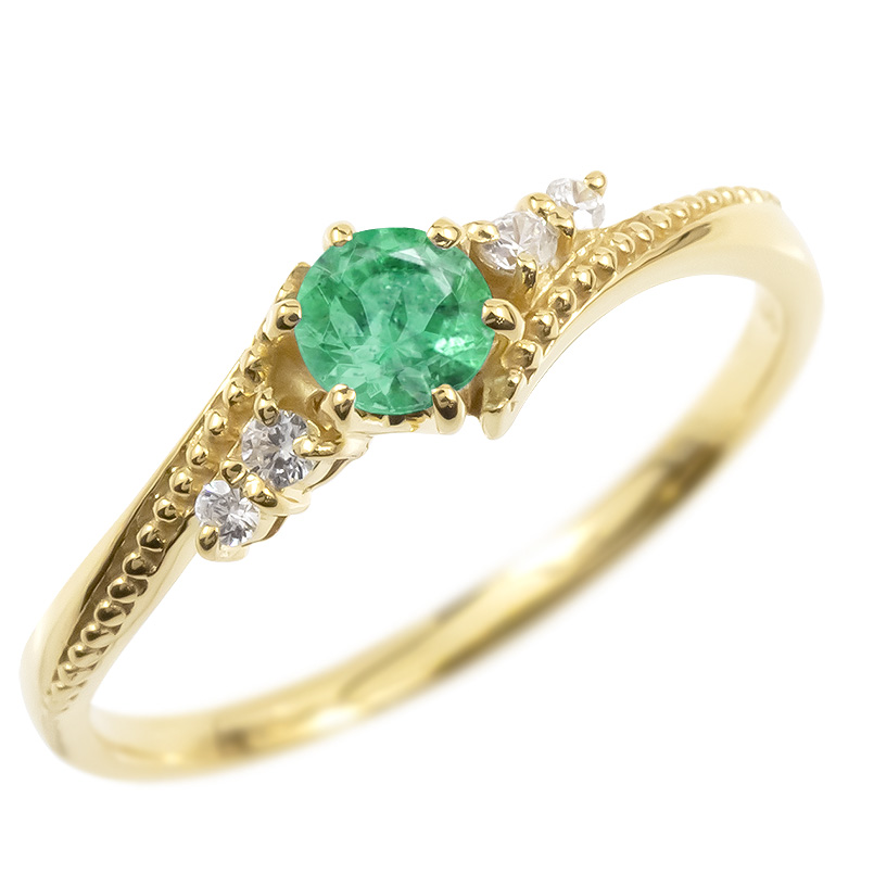 18金 リング ダイヤモンド エメラルド 一粒 レディース 指輪 18k イエローゴールドk18 ゴールド 婚約指輪 ピンキーリング 大粒 ミル打ち 女性 送料無料