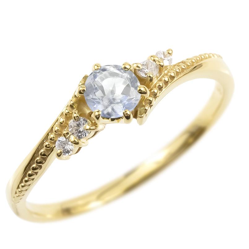 婚約指輪 18金 リング ダイヤモンド ブルームーンストーン 一粒 レディース 指輪 18k イエローゴールドk18 ゴールド エンゲージリング 大粒 送料無料