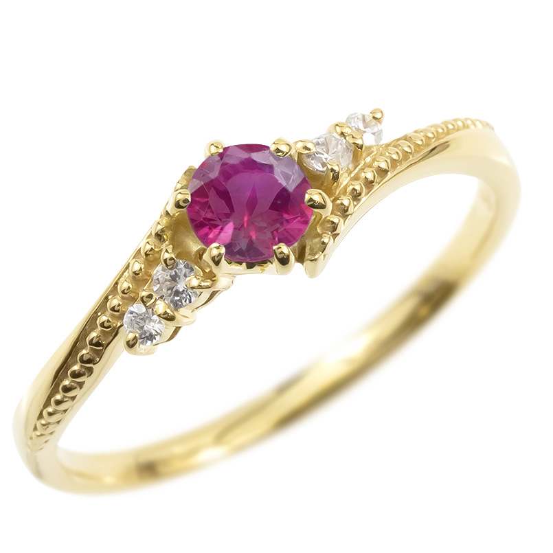 ゴールド リング ダイヤモンド ルビー 一粒 レディース 指輪 10k イエローゴールドk10 婚約指輪 ピンキーリング 大粒 ミル打ち 女性 送料無料