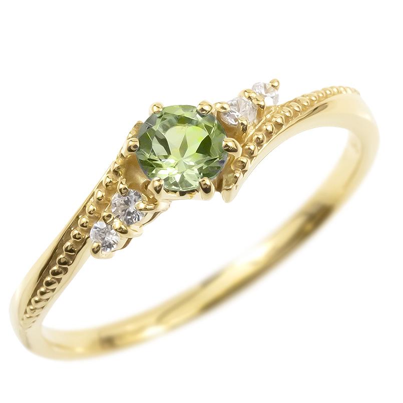 婚約指輪 18金 リング ダイヤモンド ペリドット 一粒 レディース 指輪 18k イエローゴールドk18 ゴールド エンゲージリング 大粒 ミル打ち 女性 送料無料