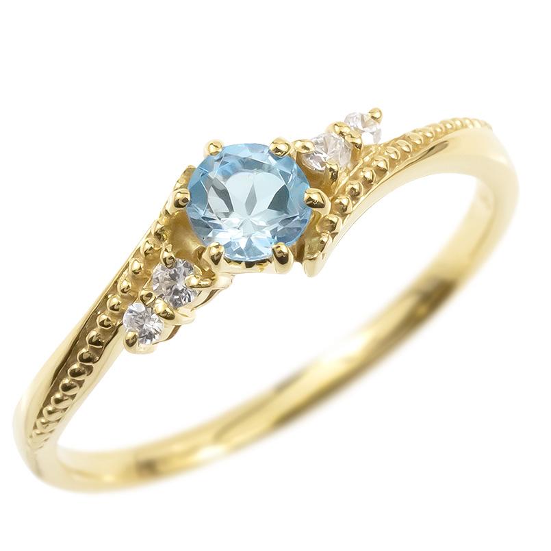 婚約指輪 ゴールド リング ダイヤモンド ブルートパーズ 一粒 レディース 指輪 10k イエローゴールドk10 エンゲージリング 大粒 ミル打ち 女性 送料無料