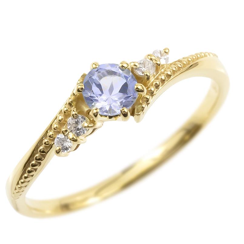 18金 リング ダイヤモンド タンザナイト 一粒 レディース 指輪 18k イエローゴールドk18 ゴールド 婚約指輪 ピンキーリング 大粒 ミル打ち 送料無料