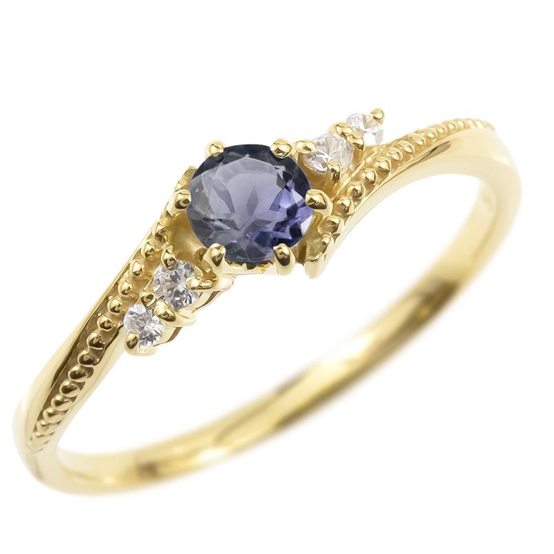 ゴールド リング ダイヤモンド アイオライト 一粒 レディース 指輪 10k イエローゴールドk10 婚約指輪 ピンキーリング 大粒 ミル打ち 女性 送料無料