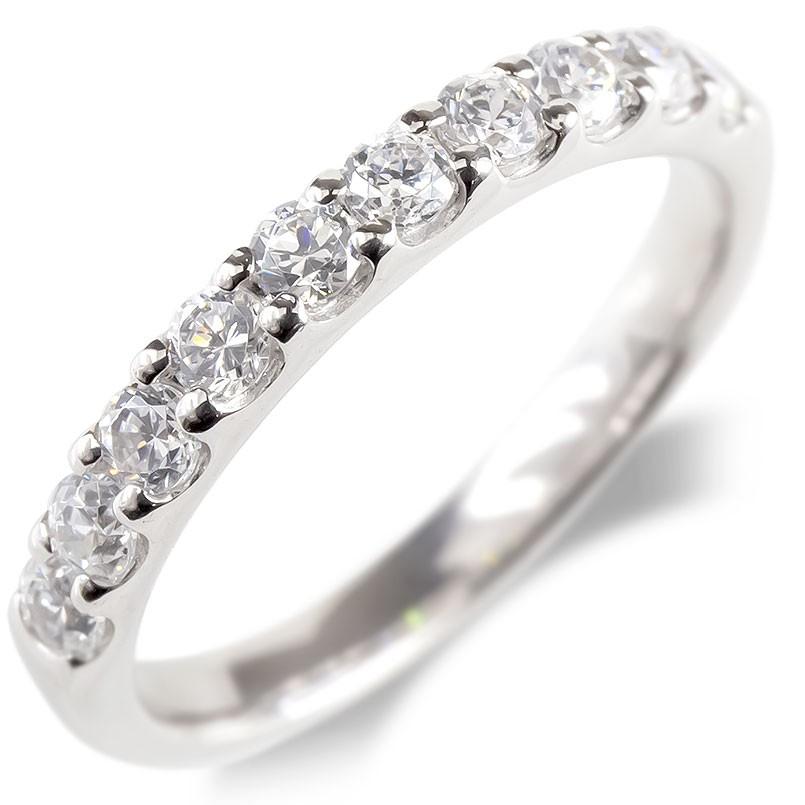 婚約指輪 安い 18金 リング レディース ダイヤモンド SIクラス 0.5ct エンゲージリング ハーフエタニティ 指輪 ピンキーリング ホワイトゴールドk18 送料無料