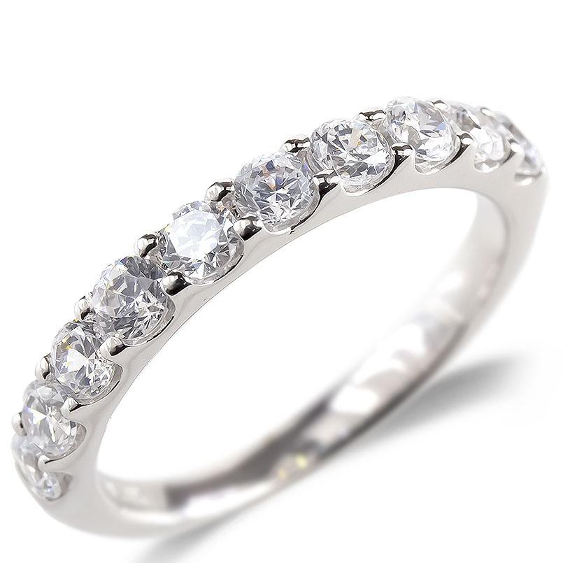 婚約指輪 安い 18金 リング レディース ダイヤモンド SIクラス 0.7ct エンゲージリング ハーフエタニティ 指輪 ピンキーリング ホワイトゴールドk18 送料無料