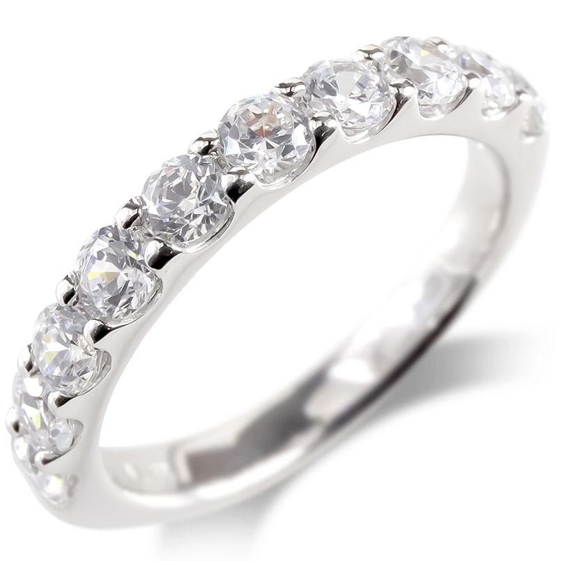 プラチナ リング レディース ダイヤモンド SIクラス 1ct 婚約指輪 安い エンゲージリング ハーフエタニティ ダイヤ 指輪 ピンキーリング pt900 送料無料