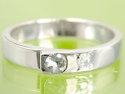 ピンキーリング アクアマリンリン プラチナ 指輪 3月誕生石 宝石 送料無料