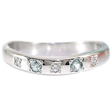 ピンキーリング アクアマリンリングダイヤモンド ホワイトゴールドk18指輪 3月誕生石 18金 ダイヤ ストレート 宝石 送料無料