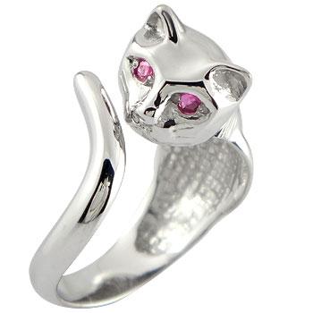 ピンキーリング 猫 ルビー 指輪 ホワイトゴールドk18 7月誕生石 18金 ストレート 宝石 送料無料