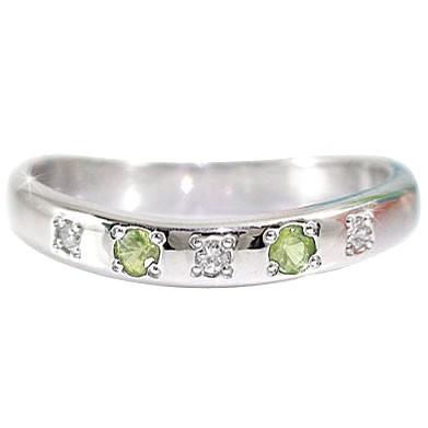 ペリドット リング ダイヤモンド 8月誕生石 シルバー 指輪 ダイヤ ストレート 送料無料