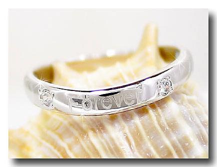 ピンキーリング 文字入れダイヤモンド リング ホワイトゴールドk18 刻印指輪 18金 ダイヤモンドリング ダイヤ ストレート 送料無料