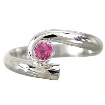 ピンキーリング ルビーリング 指輪 ホワイトゴールドk18 7月誕生石 18金 ストレート 宝石 送料無料