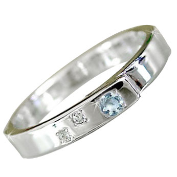 ピンキーリング プラチナリング 指輪 サンタマリアアクアマリンリング ダイヤモンド プラチナ ダイヤ 3月誕生石 ストレート 宝石 送料無料