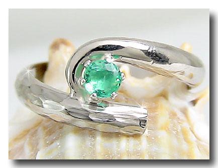 ピンキーリング アンティーク エメラルド アンティーク 指輪 プラチナリング 5月誕生石 ストレート 宝石 送料無料