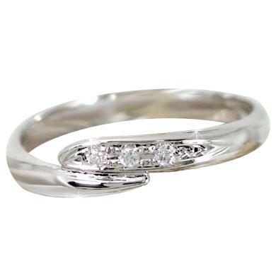 ピンキーリング ダイヤモンドリング ダイヤモンド ホワイトゴールドk18指輪 18金 ダイヤ 4月誕生石 ストレート 送料無料