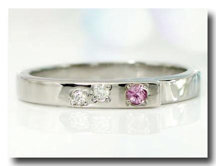 ピンキーリング ピンクサファイア ダイヤモンドリング ホワイトゴールドk18 指輪 9月誕生石 18金 ダイヤ ストレート 宝石 送料無料