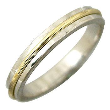 ピンキーリング プラチナ リング イエローゴールドk18 指輪 コンビ 18金 ストレート 宝石 送料無料