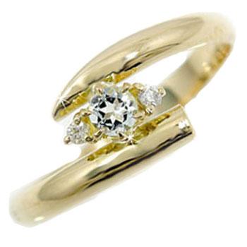 ピンキーリング ピンキーリング;アクアマリンリング ダイヤモンド イエローゴールドk18指輪 3月誕生石 18金 ダイヤ ストレート 送料無料