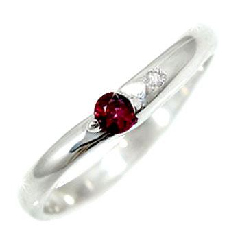 ピンキーリング ルビー ダイヤモンド シルバー925 指輪 SV925 ダイヤ ストレート 送料無料