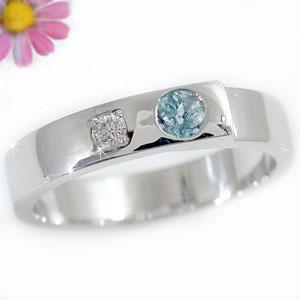 ピンキーリング 指輪 サンタマリアアクアマリンリング ダイヤモンド ホワイトゴールドk18 3月誕生石 18金 ダイヤ ストレート 宝石 送料無料
