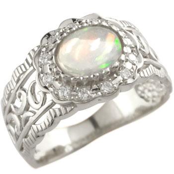 ピンキーリング オパール リング ダイヤモンド 指輪 ホワイトゴールドk18 10月誕生石 18金 ダイヤ ストレート 送料無料