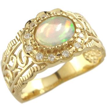 ピンキーリング オパール リング ダイヤモンド 指輪 イエローゴールドk18 10月誕生石 18金 ダイヤ ストレート 送料無料