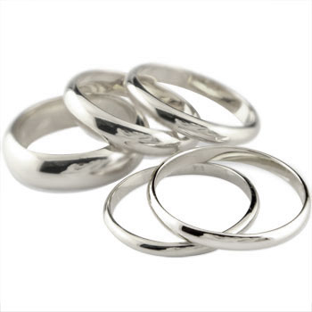 ピンキーリング ホワイトゴールドk18 リング 指輪 甲丸 地金リング 宝石なし 18金 ストレート 2.3 送料無料
