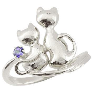 ピンキーリング 猫 プラチナ リング アメジスト 指輪 2月誕生石 ストレート 宝石 送料無料