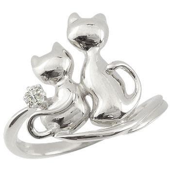 ピンキーリング 猫 プラチナ ダイヤモンドリング 指輪 ダイヤ 4月誕生石 ストレート 送料無料