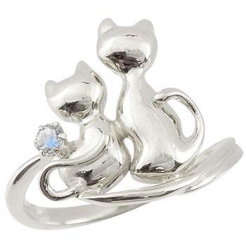 ピンキーリング 猫 プラチナ リング ブルームーンストーン 指輪 6月誕生石 ストレート 宝石 送料無料