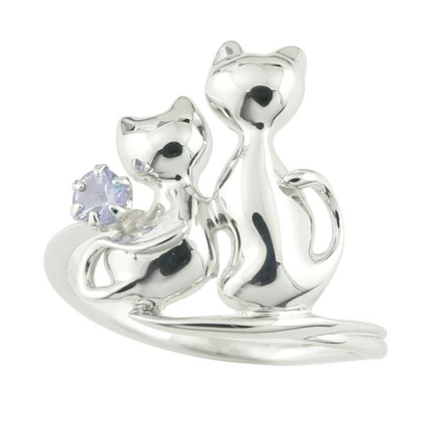 ピンキーリング 猫 リング タンザナイト 指輪 ホワイトゴールドk18 12月誕生石 18金 ストレート 宝石 送料無料