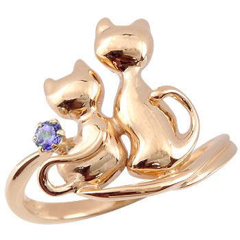 ピンキーリング 猫 リング アメジスト 指輪 ピンクゴールドk18 2月誕生石 18金 ストレート 宝石 送料無料