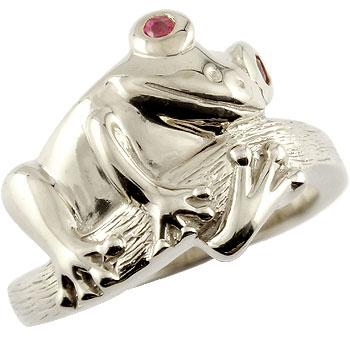 シルバー リング カエル ルビー 指輪 ピンキーリング ストレート 送料無料