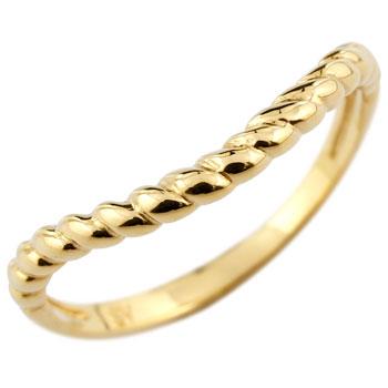 ピンキーリング V字 リング 指輪 イエローゴールドk18 18金 ウェーブリング 送料無料