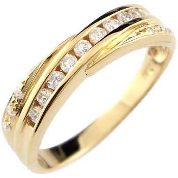 ピンキーリング 18金 ダイヤモンド リング 指輪 ダイヤ イエローゴールドk18 ダイヤモンドリング ストレート 送料無料