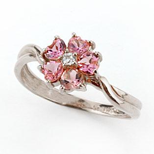ピンキーリング ピンクトルマリン プラチナ リング ダイヤモンド フラワー 花 指輪 10月誕生石 ダイヤ ストレート 宝石 送料無料
