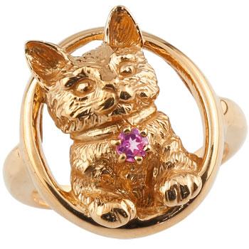 ピンキーリング 猫 リング ピンクトルマリン 指輪 ピンクゴールドk18 18金 10月誕生石 ストレート 宝石 送料無料