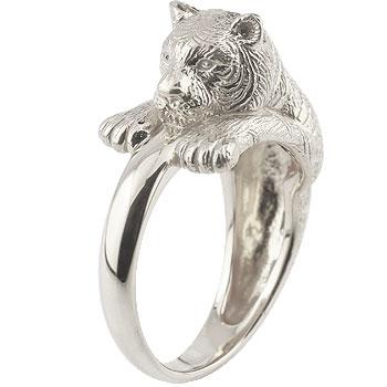 ピンキーリング 虎 リング タイガー 指輪 ホワイトゴールドk18 18金 ストレート 送料無料