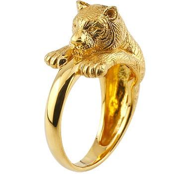 ピンキーリング 虎 リング タイガー 指輪 イエローゴールドk18 18金 ストレート 送料無料