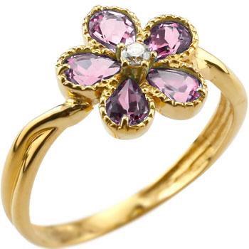 ピンキーリング ピンクトルマリン リング ダイヤモンド フラワー 花 指輪 10月誕生石 イエローゴールドk18 18金 ダイヤ ストレート 宝石 送料無料