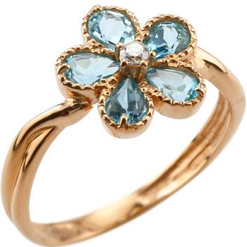 ピンキーリング ブルートパーズ リング ダイヤモンド フラワー 花 指輪 11月誕生石 ピンクゴールドk18 18金 ダイヤ ストレート 宝石 送料無料