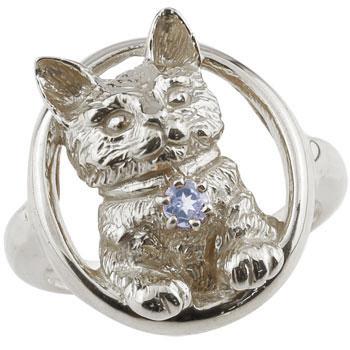 ピンキーリング 猫 リング タンザナイト 指輪 ホワイトゴールドk18 18金 ストレート 宝石 送料無料