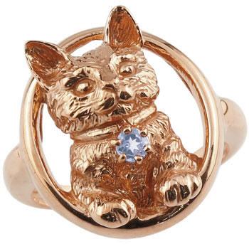ピンキーリング 猫 リング タンザナイト 指輪 ピンクゴールドk18 18金 ストレート 宝石 送料無料
