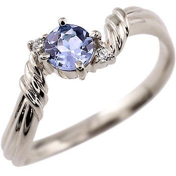 ピンキーリング タンザナイト リング ダイヤモンド 指輪 ホワイトゴールドk18 12月誕生石 18金 ダイヤ ストレート 宝石 送料無料