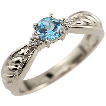 ピンキーリング ブルートパーズ リング ダイヤモンド 指輪 ホワイトゴールドk18 11月誕生石 18金 ダイヤ ストレート 宝石 送料無料